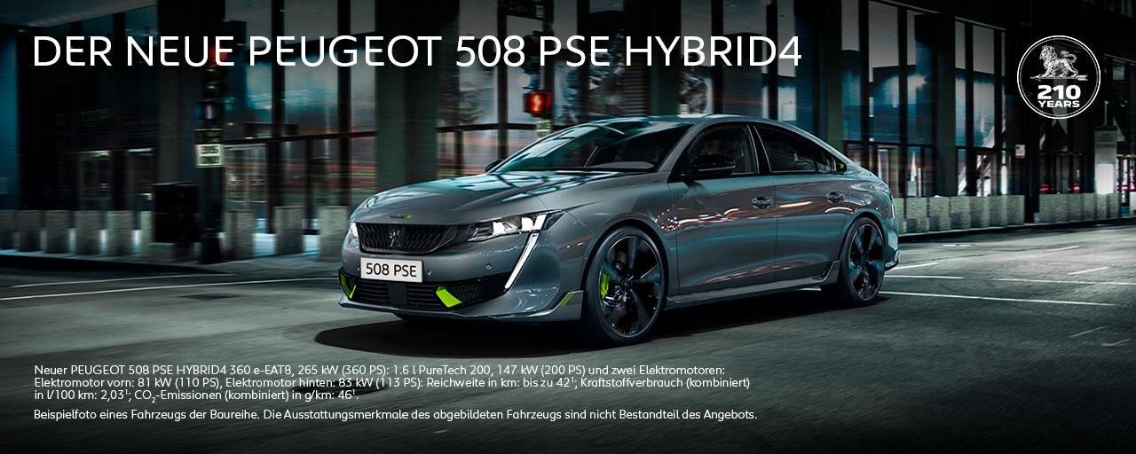 Neuer PEUGEOT 508 PSE HYBRID4 mit Allradantrieb