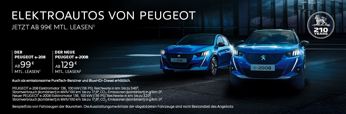 Elektroautos von PEUGEOT – Mit Top-Konditionen leasen