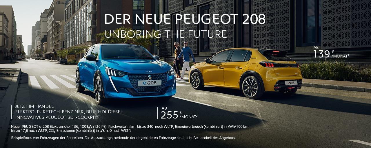 Neuer PEUGEOT 208 und Elektroauto PEUGEOT e-208 – Angebote entdecken