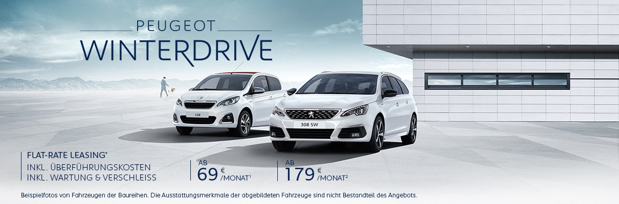 PEUGEOT WinterDrive – Neuwagen inkl. Wartung und Verschleiss inkl. Ueberfuehrungskosten