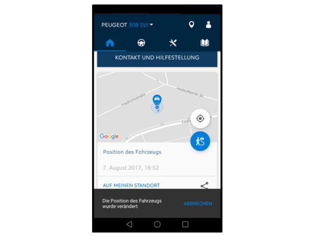 MyPeugeotApp-Position des Fahrzeugs
