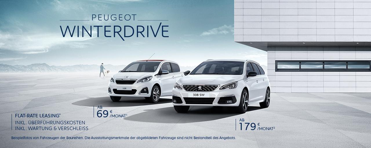 PEUGEOT WinterDrive – PEUGEOT 108 und 308 SW Neuwagen inkl. Wartung und Verschleiss inkl. Ueberfuehrungskosten