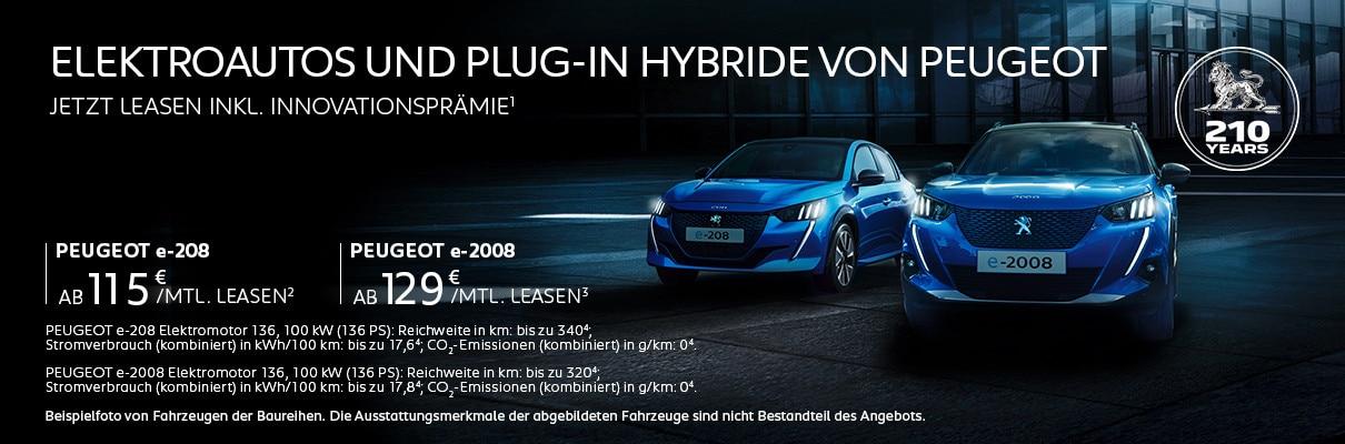 Elektroautos und Plug-In Hybride von PEUGEOT – Leasing-Angebote mit Innovationsprämie entdecken