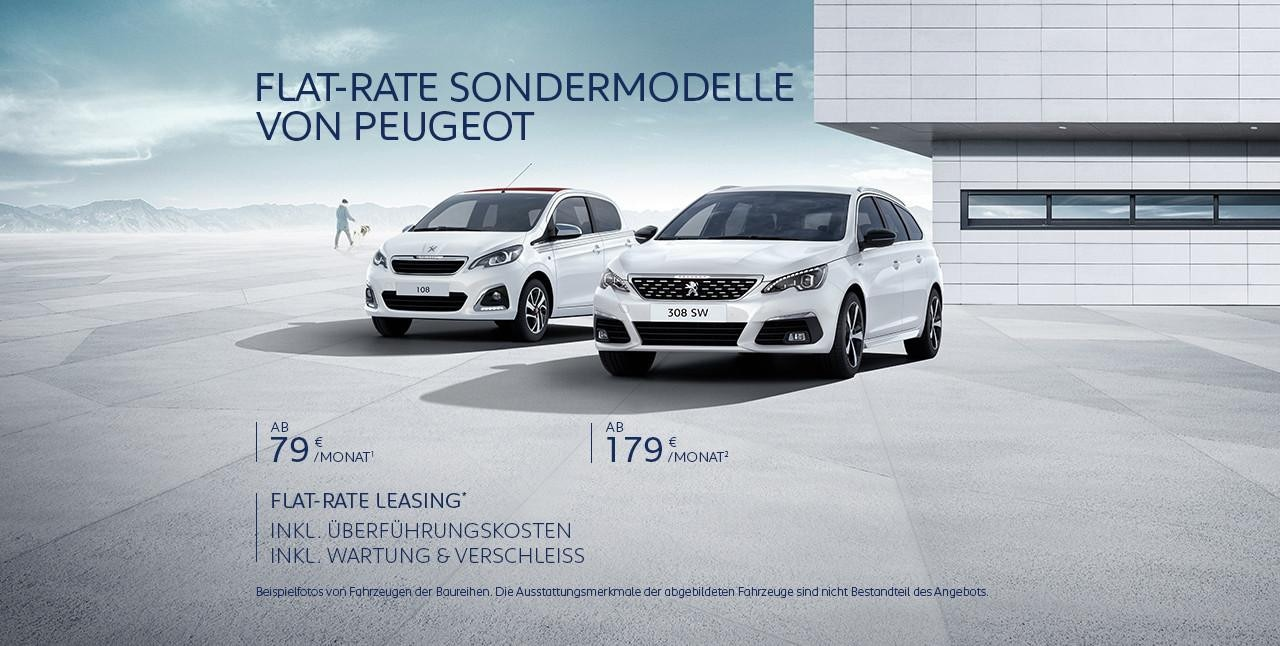 PEUGEOT Neuwagen Angebot inkl. Ueberfuehrungskosten inkl. Wartung und Verschleiss