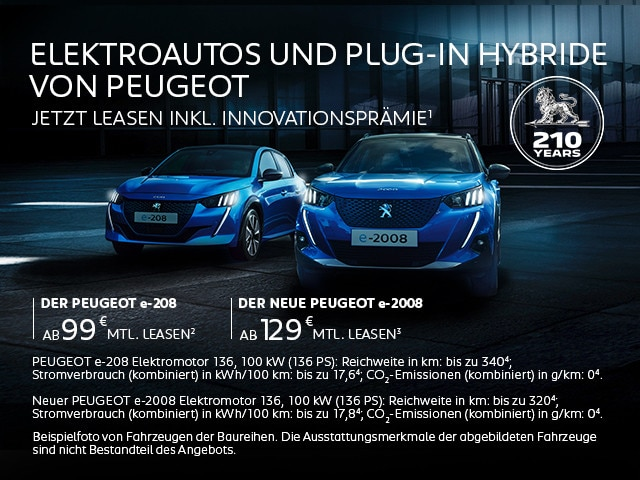 Elektroautos und Plug-In Hybride von PEUGEOT – Top-Angebote mit Innovationsprämie entdecken