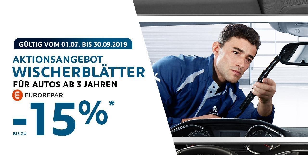 PEUGEOT Angebot fuer Scheibenwischer fuer Autos ab 3 Jahren.
