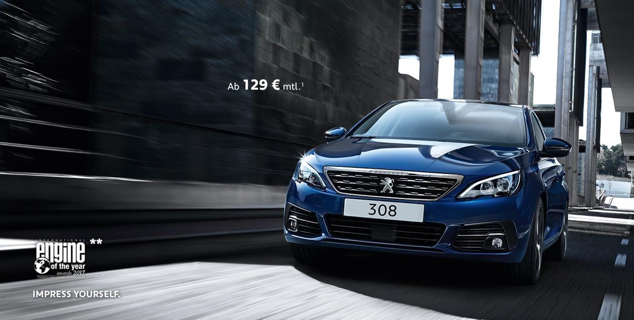 PEUGEOT 308 blau Design Angebot Leasing modern