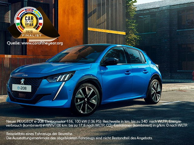 Neues Elektroauto PEUGEOT e-208 – Car of the year Finalist