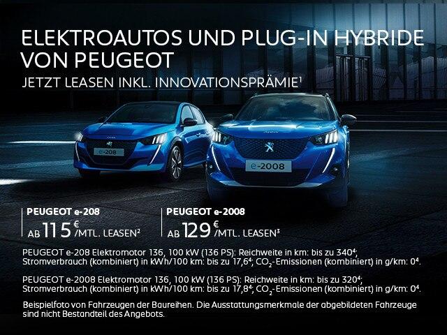 Elektroautos und Plug-In Hybride von PEUGEOT – Angebote mit Innovationsprämie jetzt entdecken
