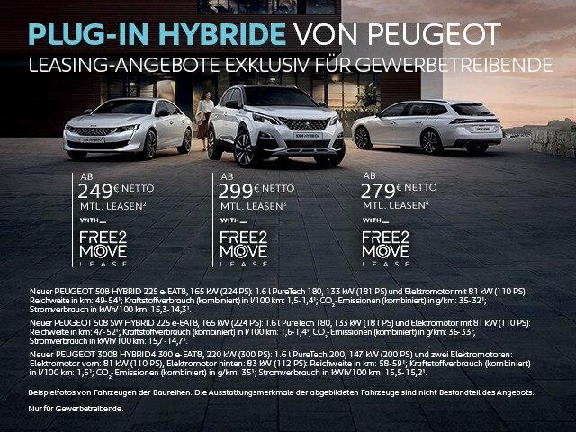 Plug-In Hybridfahrzeuge von PEUGEOT mit Leasingangebot exklusiv fuer Gewerbekunden