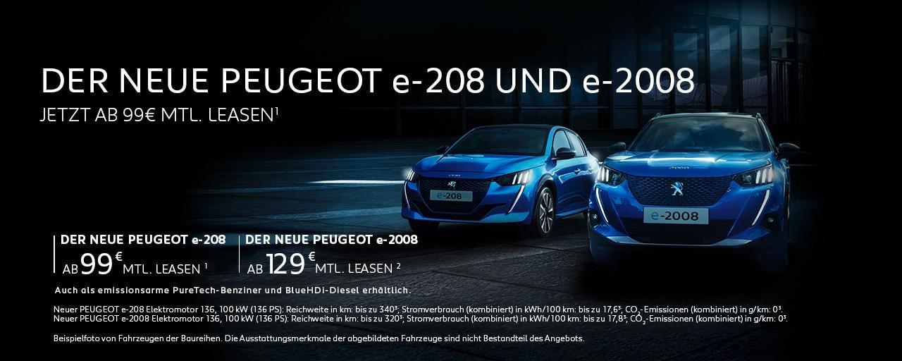 Elektroautos von PEUGEOT mit Top-Konditionen leasen