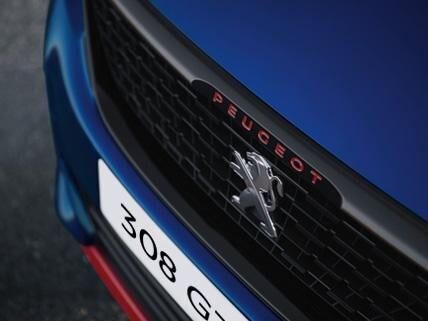 PEUGEOT 308 GTi blau sportliches Design Kühlergrill