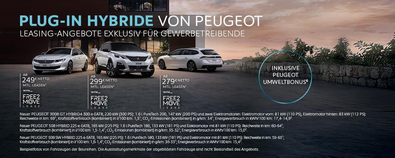 Plug- In Hybridmodelle von PEUGEOT mit Umweltbonus – Jetzt Angebot fuer Geschaeftskunden