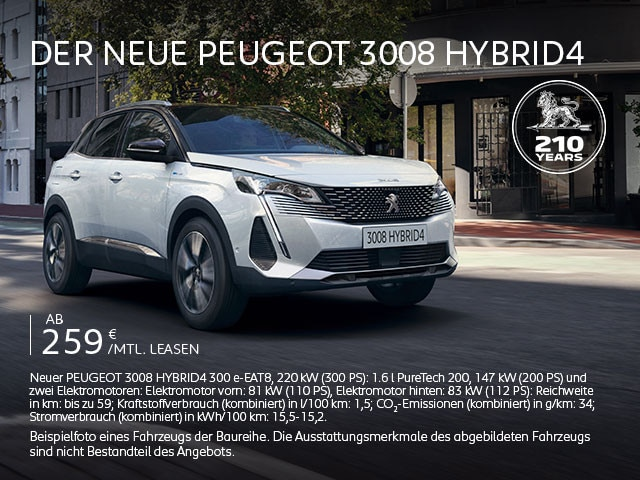 Neuer SUV PEUGEOT 3008 HYBRID4 – Jetzt entdecken