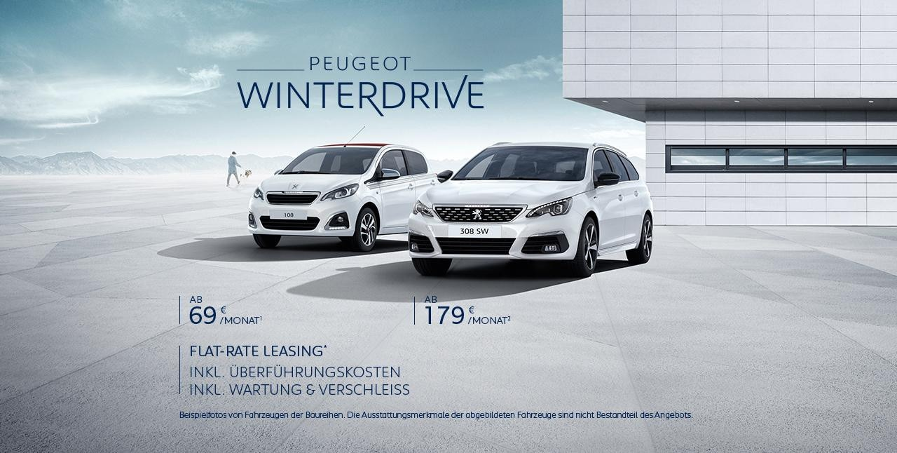 PEUGEOT WinterDrive – Neuwagen Angebote. Inkl. Wartung und Verschleiss. Inkl. Ueberfuehrungskosten